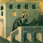 Pietro Lorenzetti (c. 1280 - 1348)  Humilitas Heals the Foot of the Monk  Gold and tempera on panel, 1316  Galleria degli Uffizi, Florence, Italy